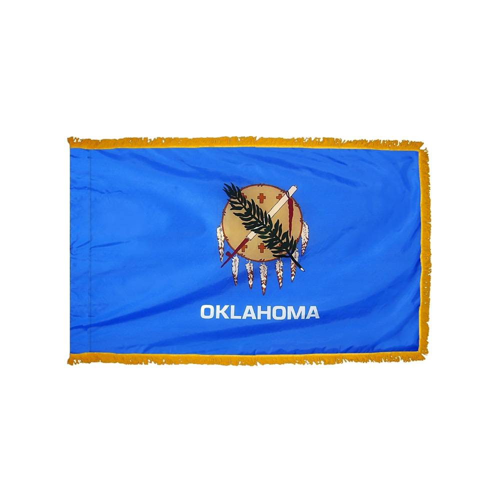 Oklahoma Flag with Polesleeve & Fringe