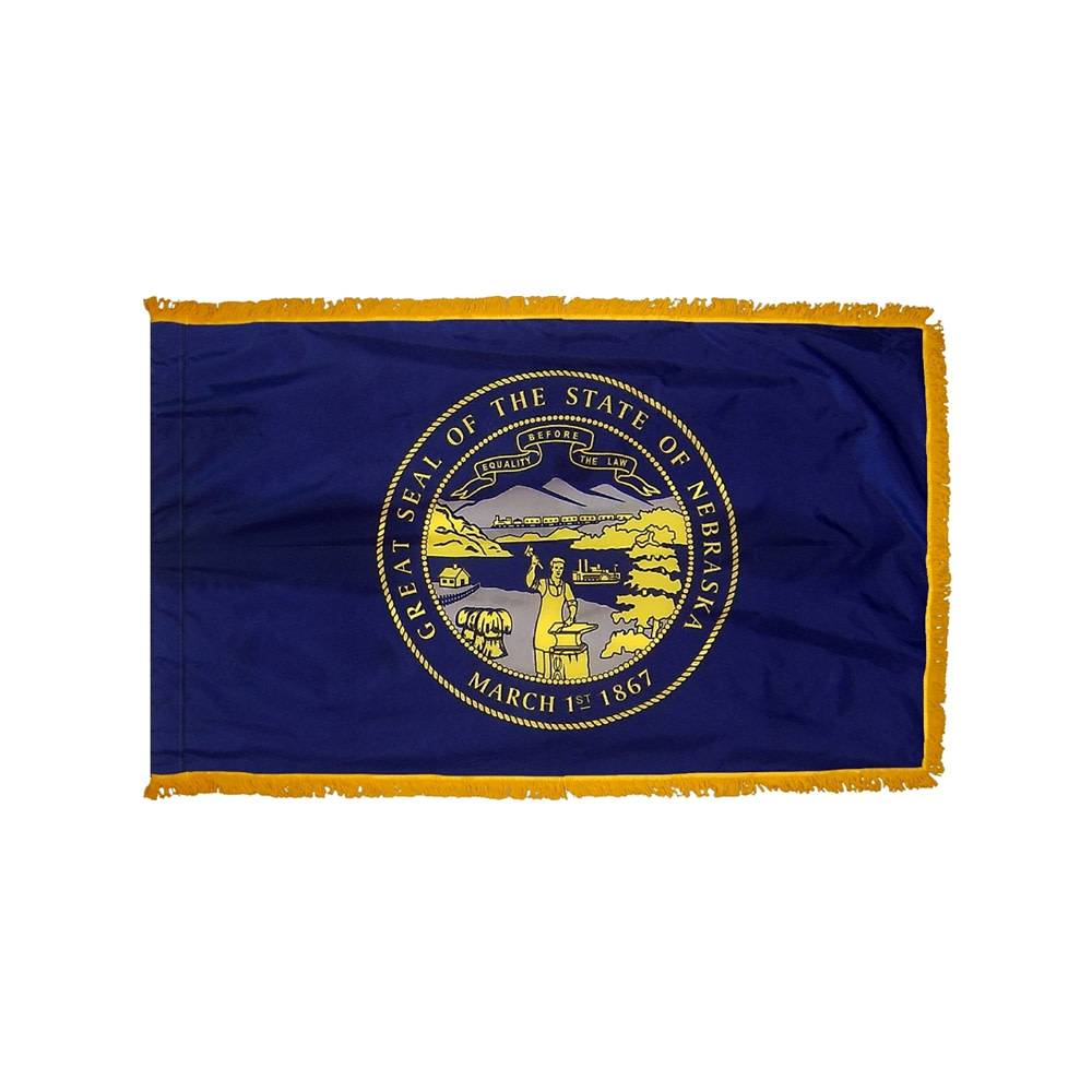 Nebraska Flag with Polesleeve & Fringe