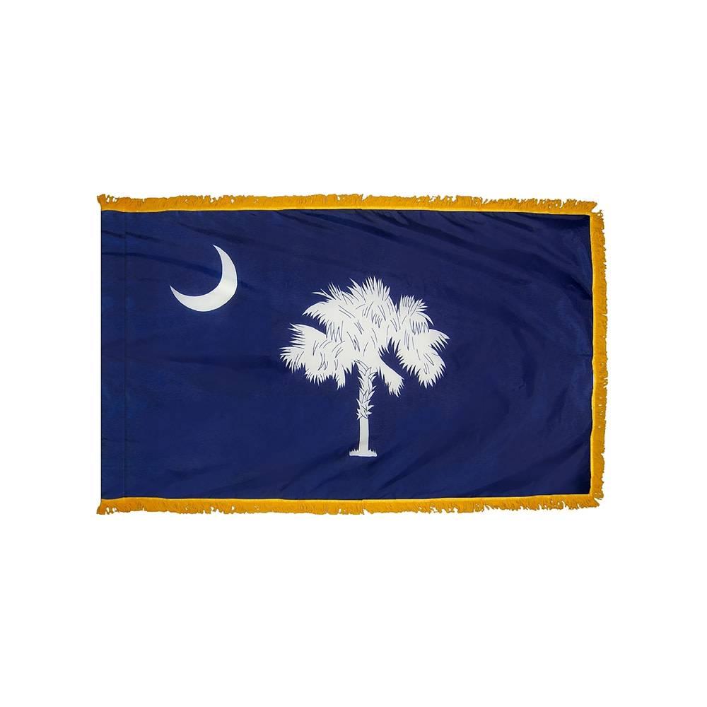 South Carolina Flag with Polesleeve & Fringe