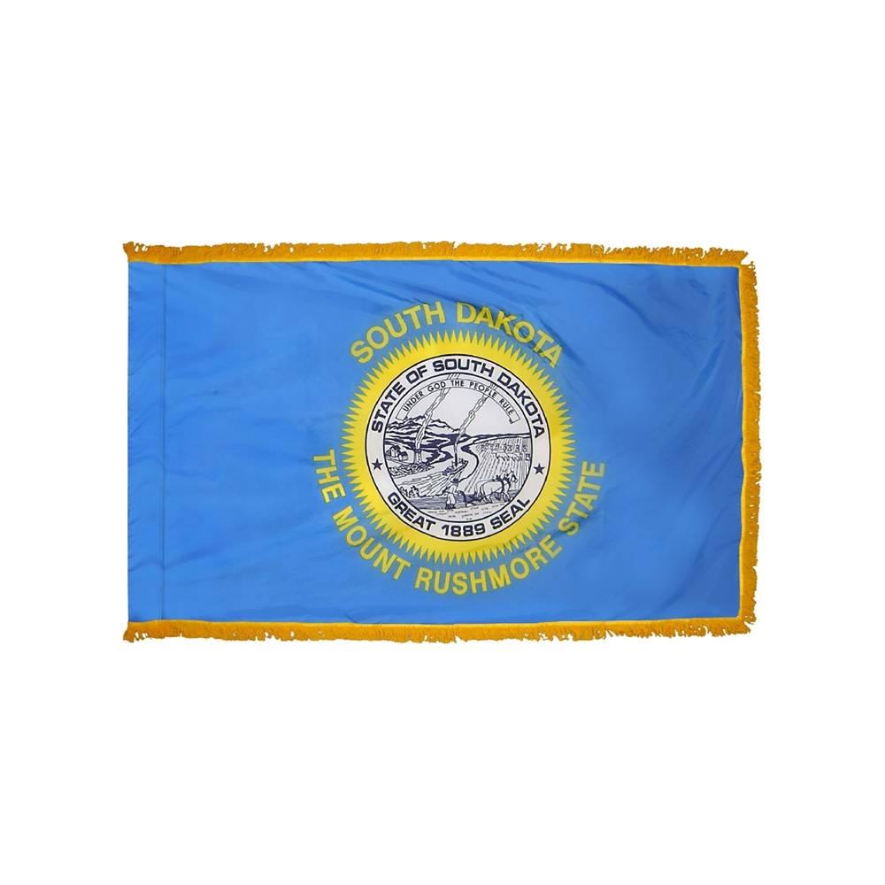 South Dakota Flag with Polesleeve & Fringe