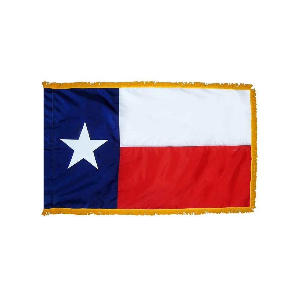 Texas Flag with Polesleeve & Fringe