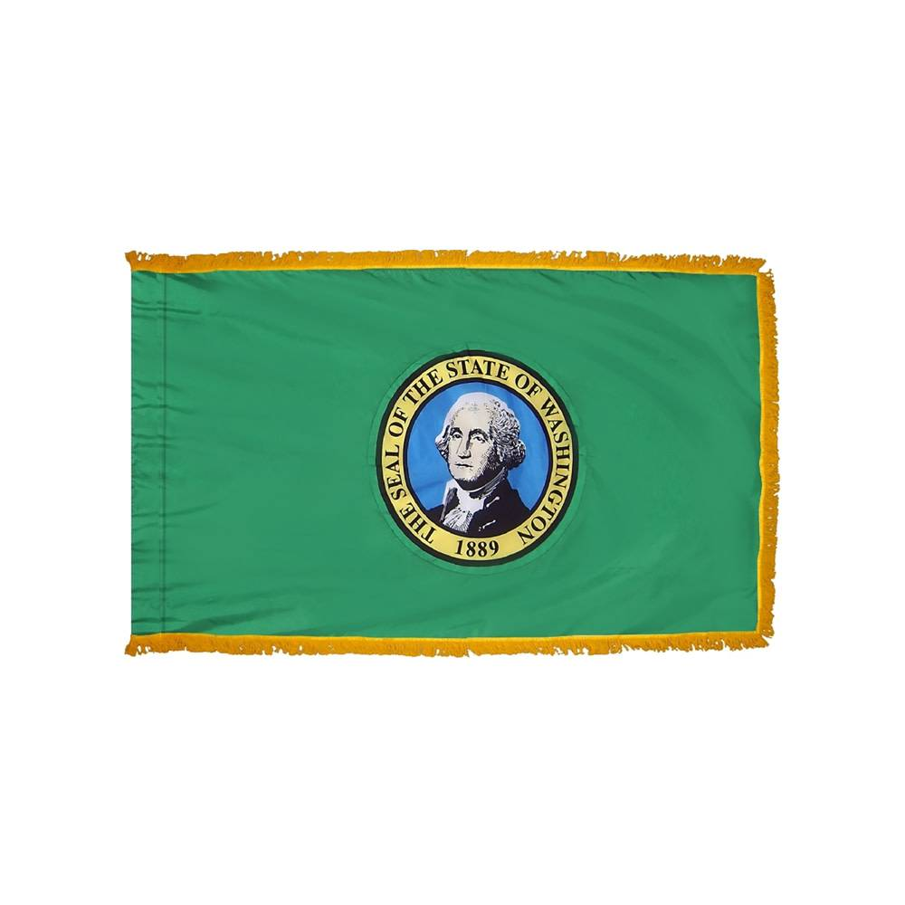 Washington Flag with Polesleeve & Fringe