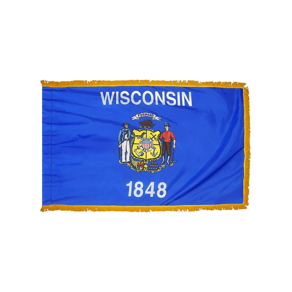 Wisconsin Flag with Polesleeve & Fringe