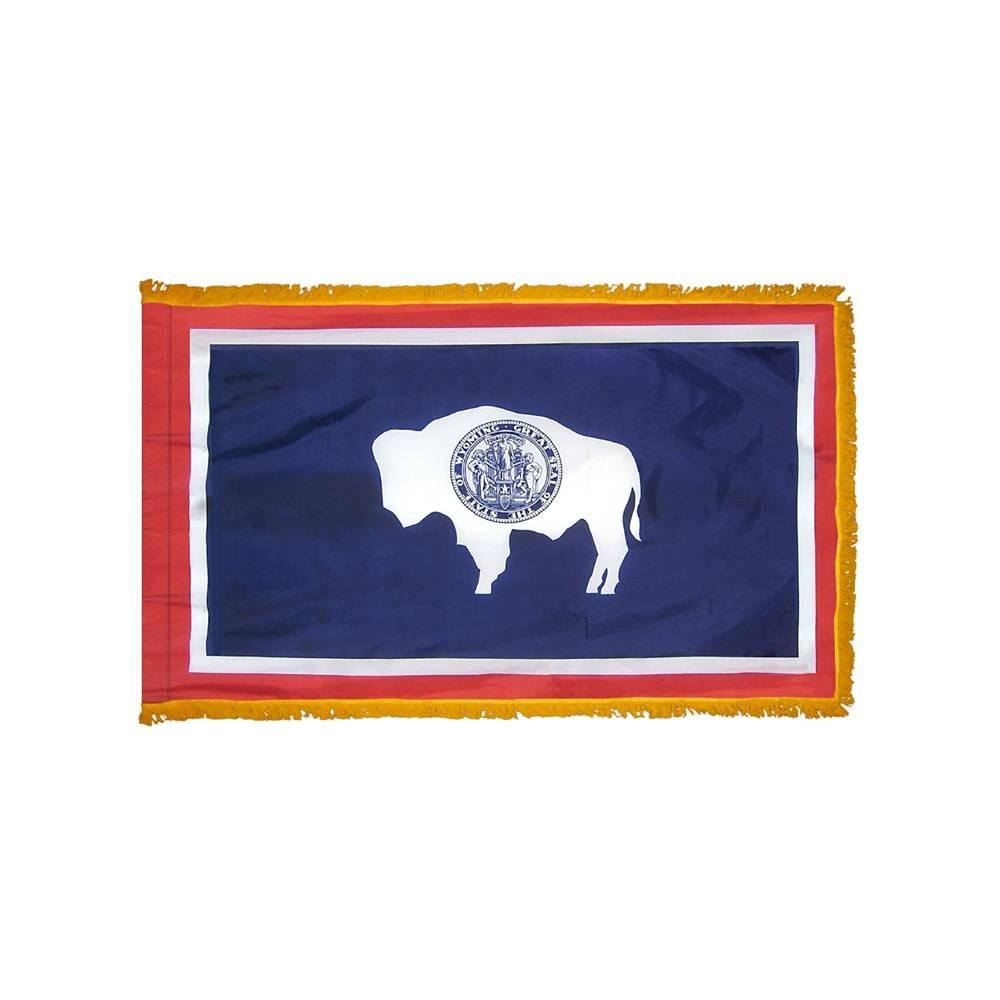 Wyoming Flag with Polesleeve & Fringe