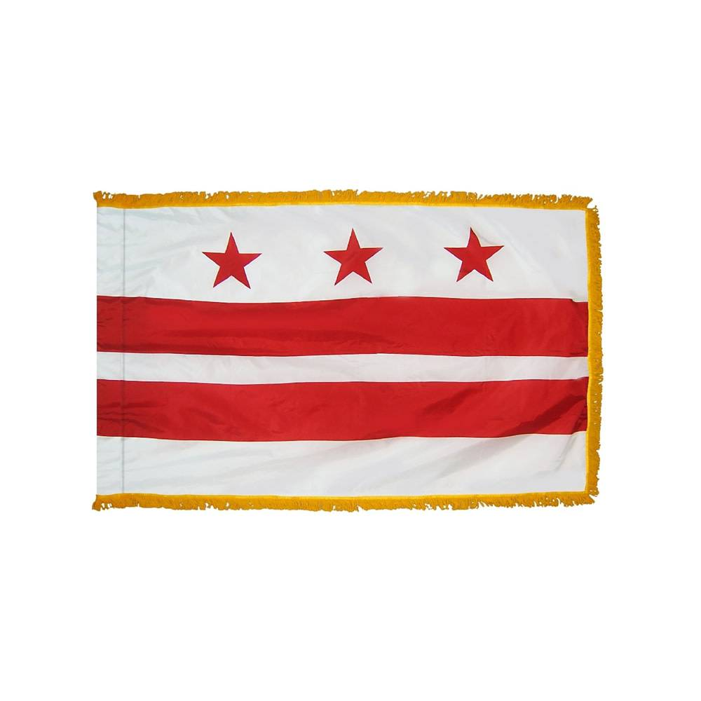 District of Columbia Flag with Polesleeve & Gold Fringe