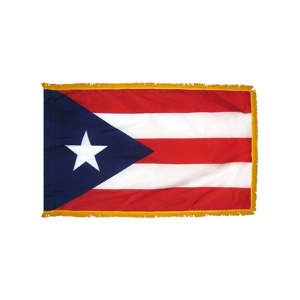 Puerto Rico Flag with Polesleeve & Fringe