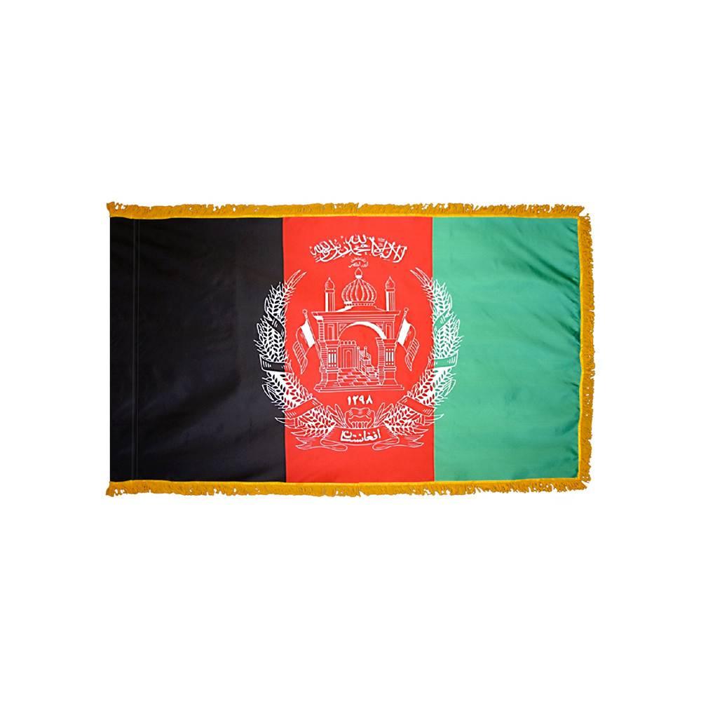 Afghanistan Flag with Polesleeve & Fringe