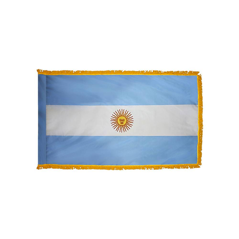 Argentina Flag with Polesleeve & Fringe
