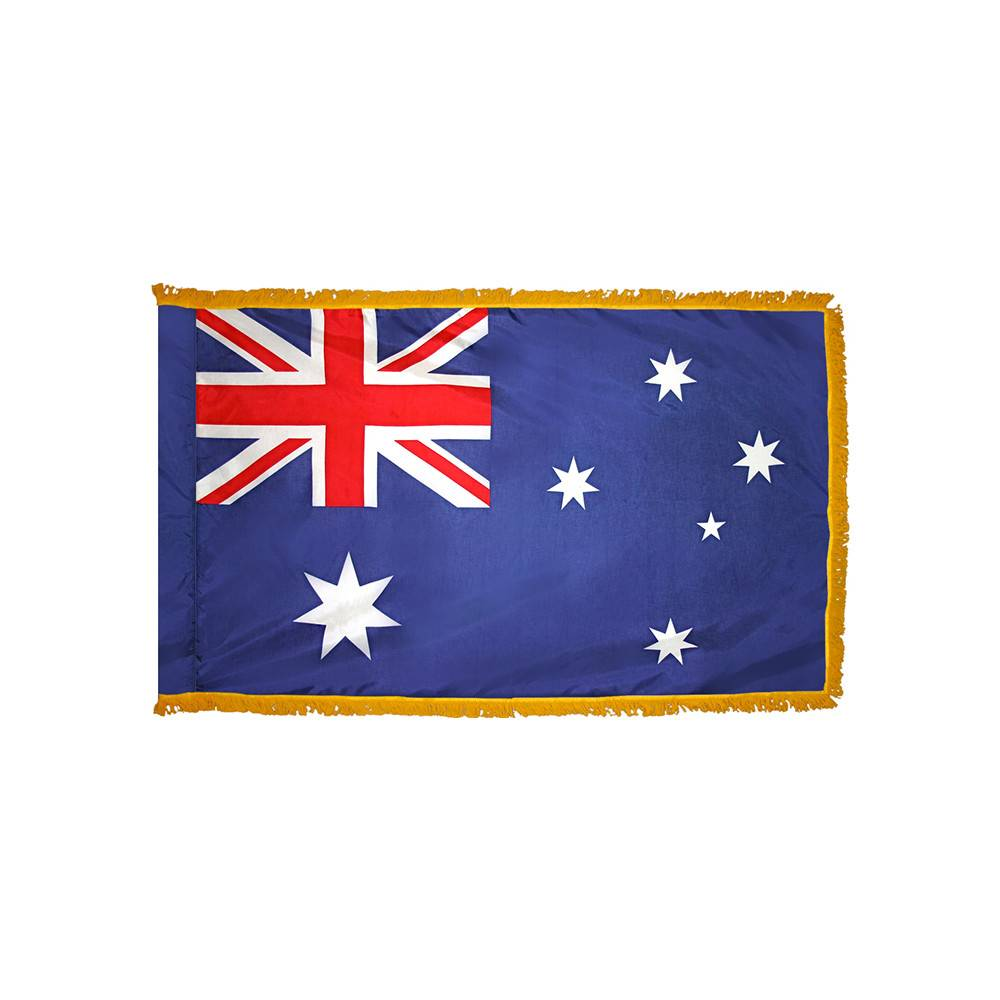 Australia Flag with Polesleeve & Fringe