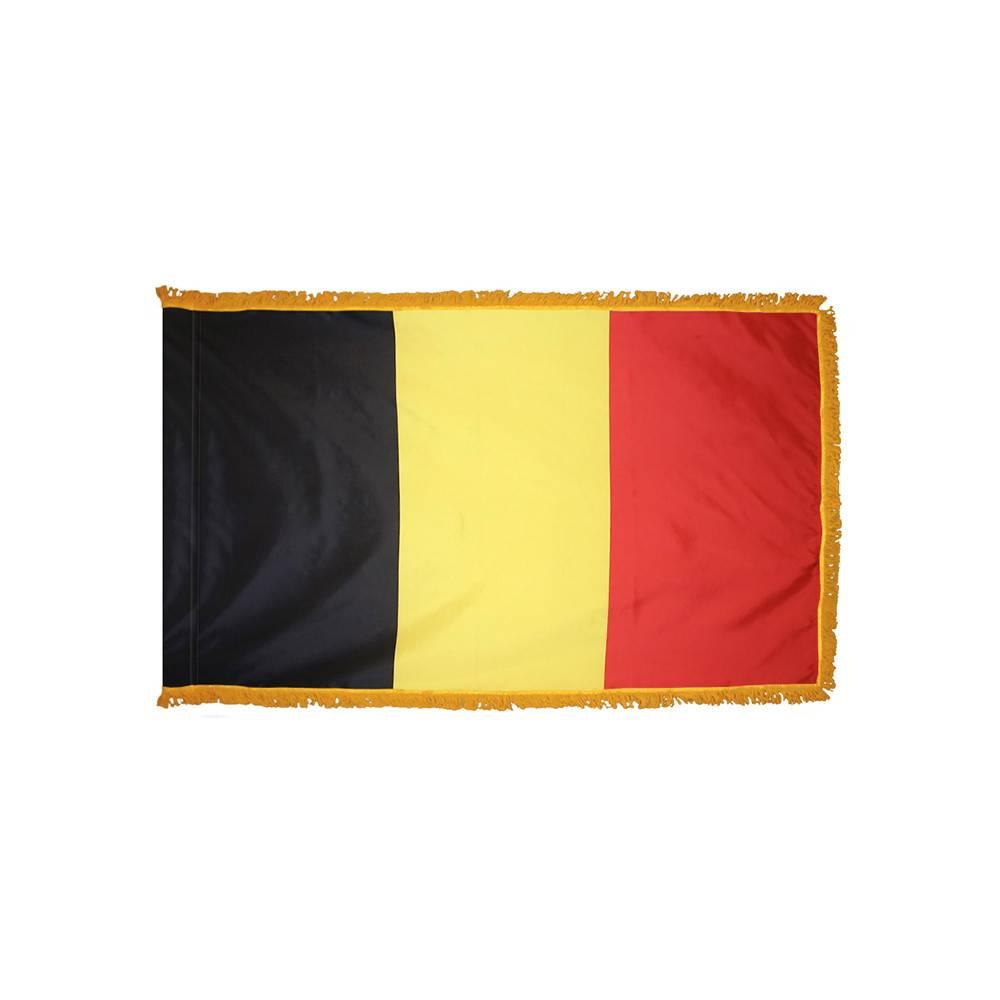 Belgium Flag with Polesleeve & Fringe