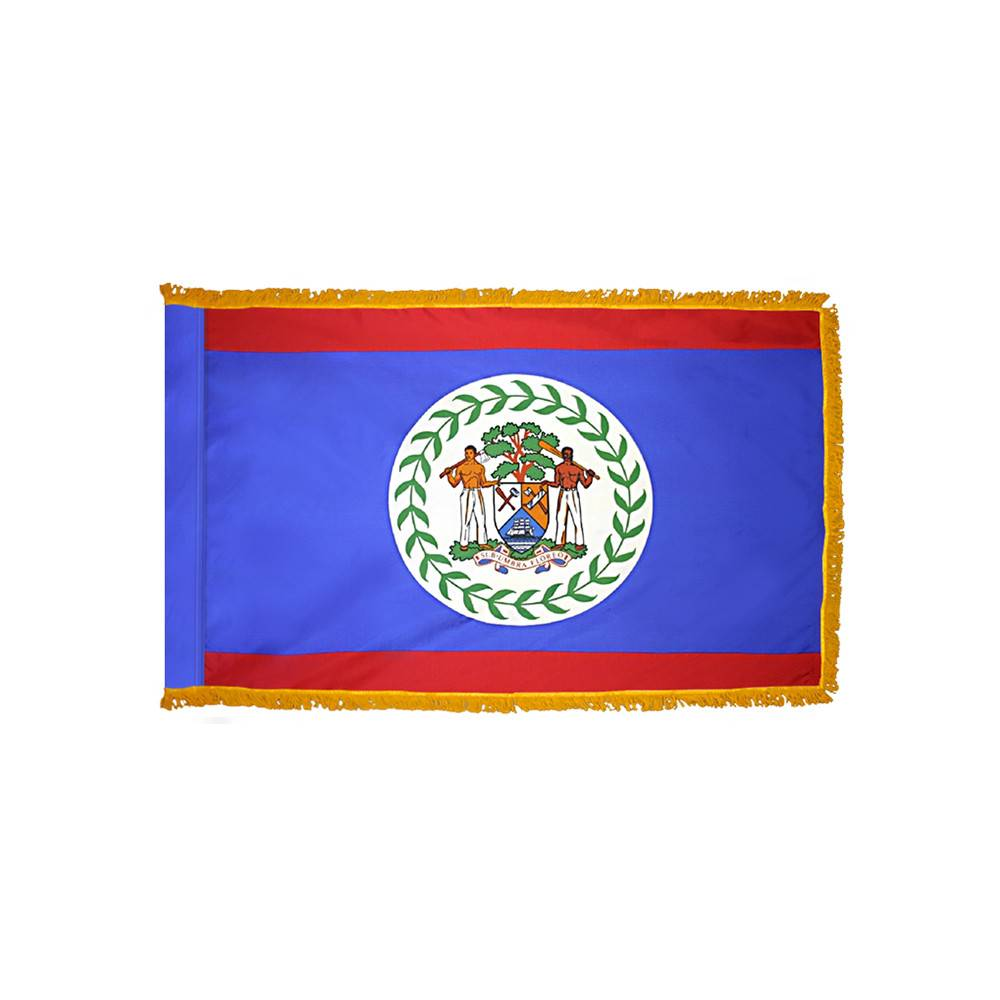 Belize Flag with Polesleeve and Fringe