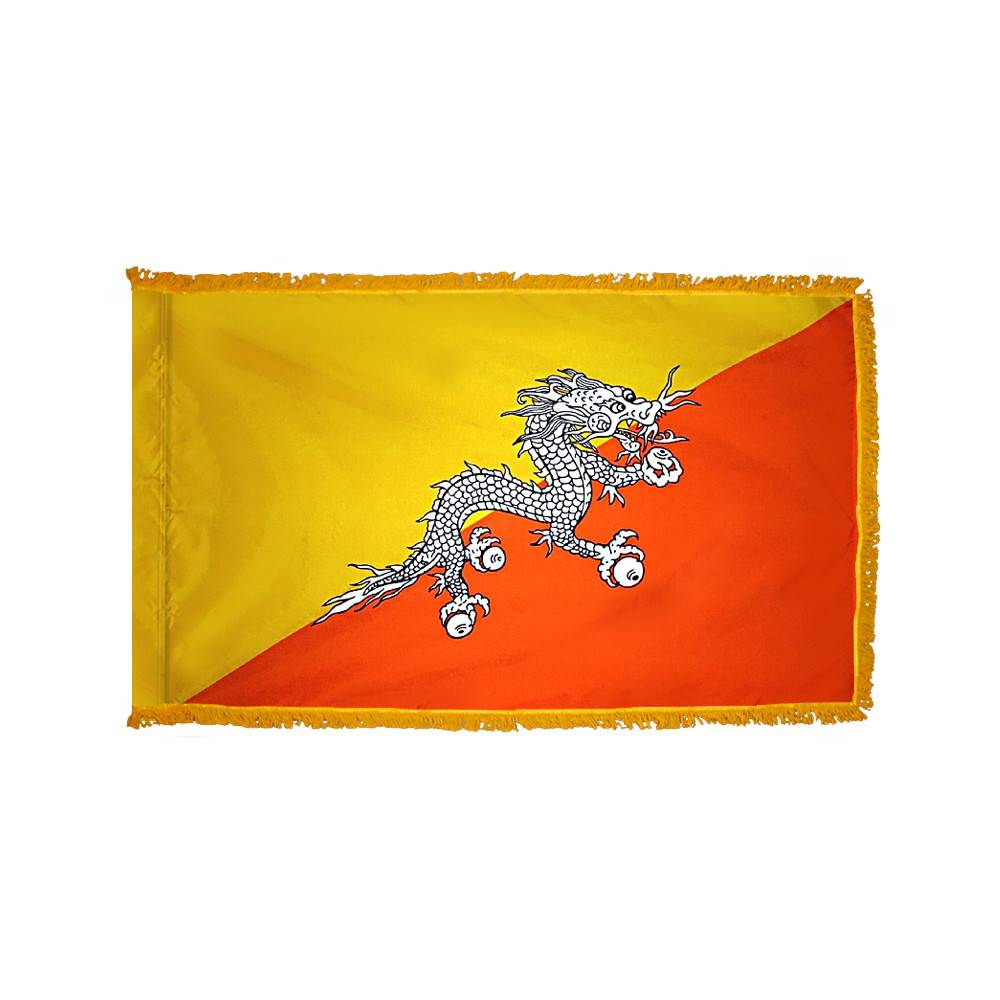 Bhutan Flag with Polesleeve & Fringe