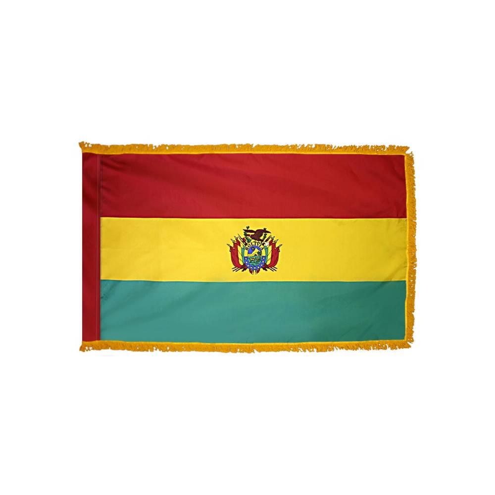 Bolivia Flag with Polesleeve & Fringe