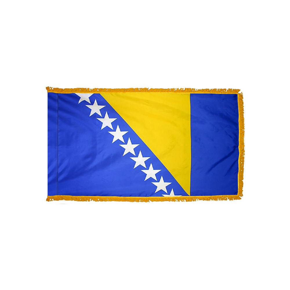 Bosnia-Herzegovina Flag with Polesleeve & Fringe