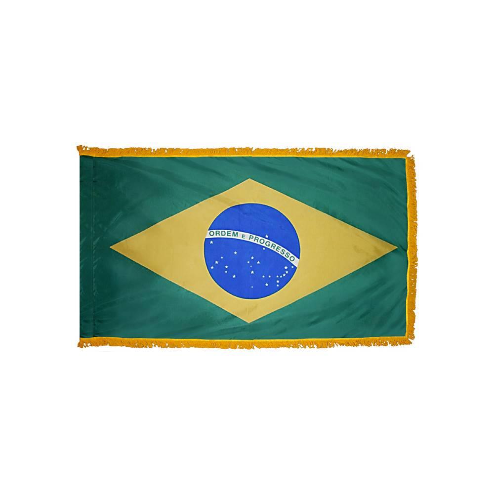 Brazil Flag with Polesleeve & Fringe