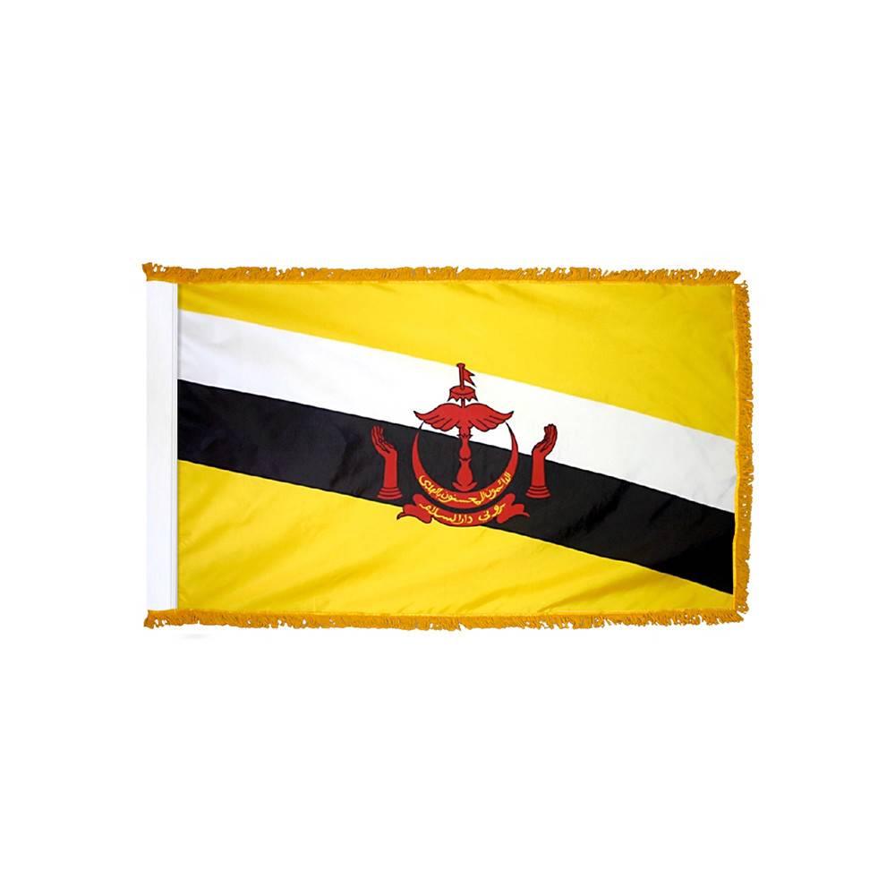Brunei Flag with Polesleeve & Fringe
