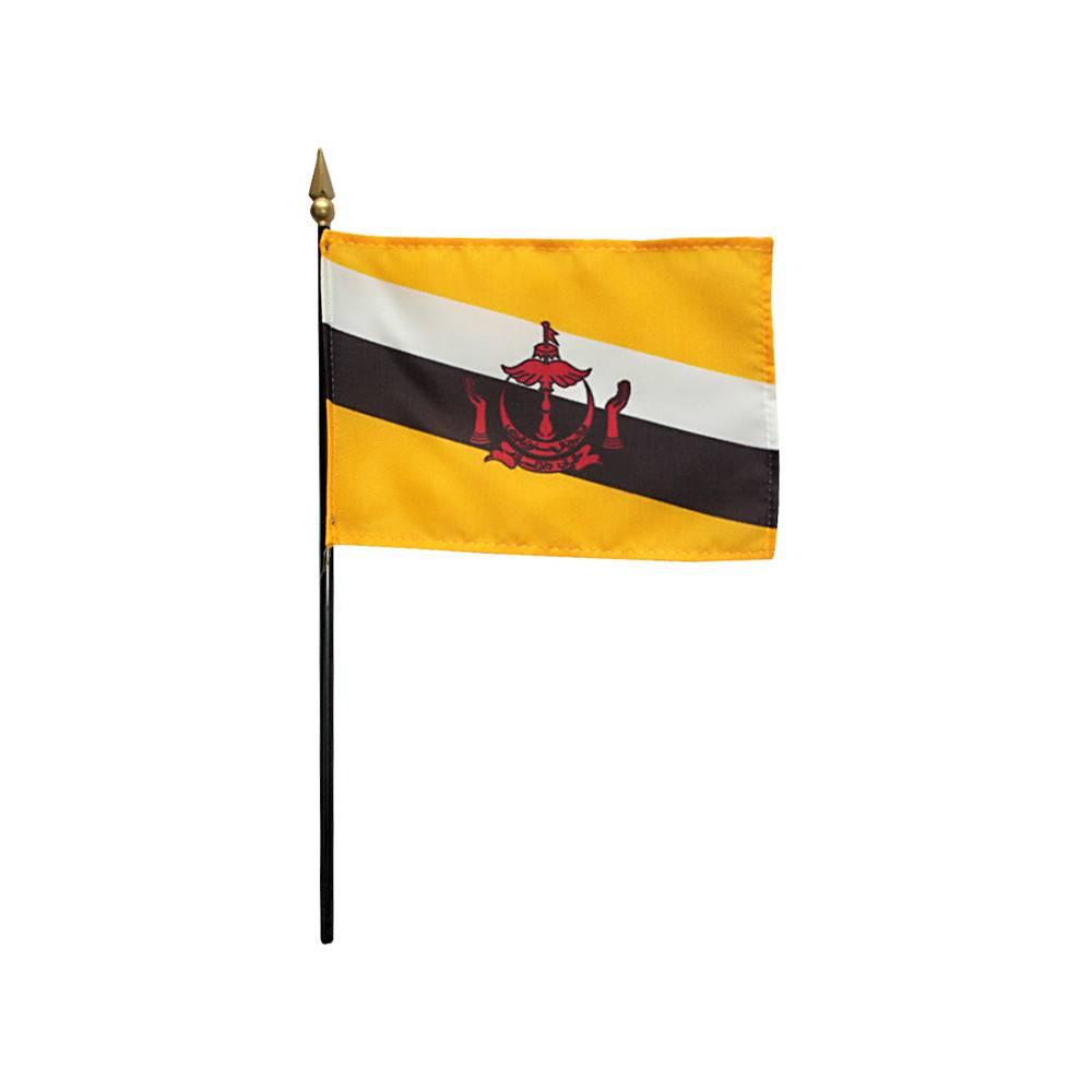Brunei Stick Flag 4x6 in