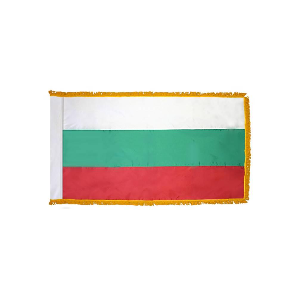Bulgaria Flag with Polesleeve & Fringe