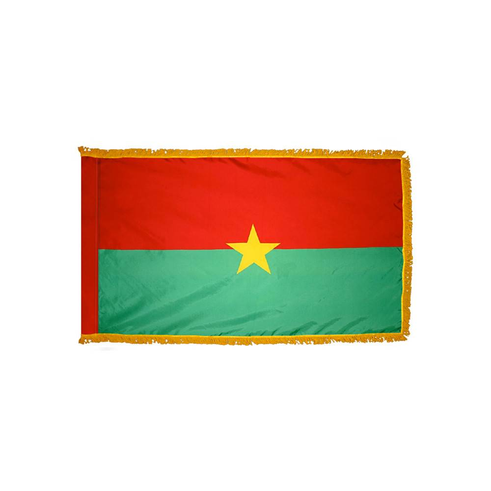 Burkina Faso Flag with Polesleeve & Fringe