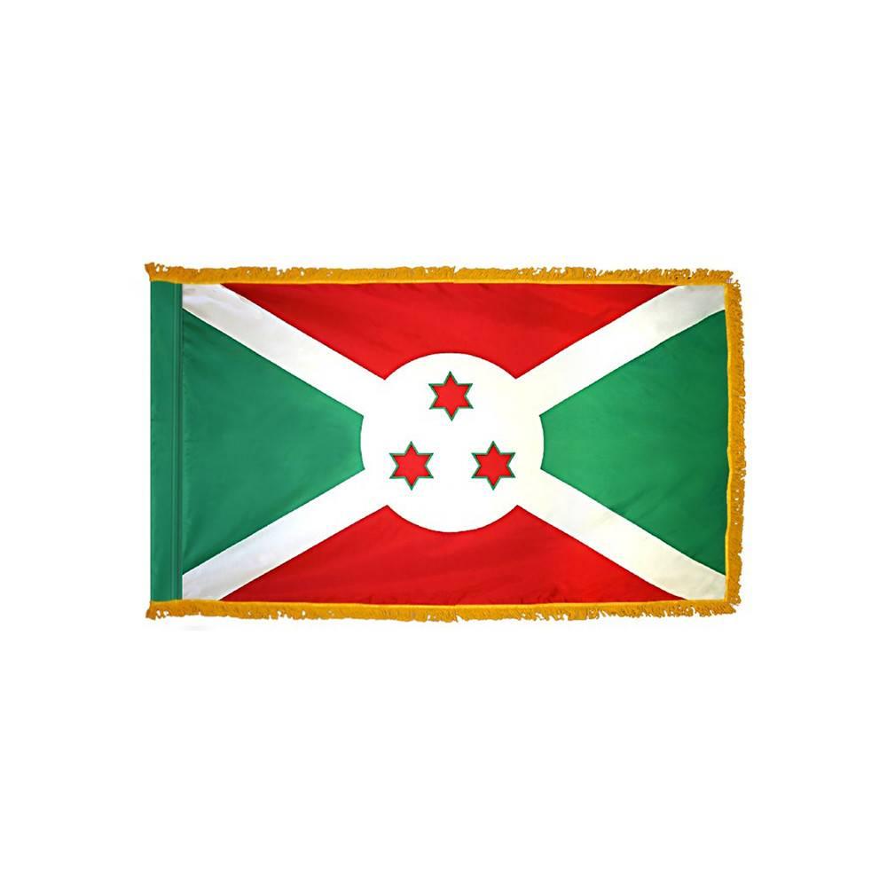 Burundi Flag with Polesleeve & Fringe