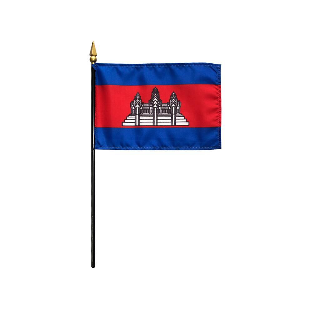 Cambodia Stick Flag 4x6 in
