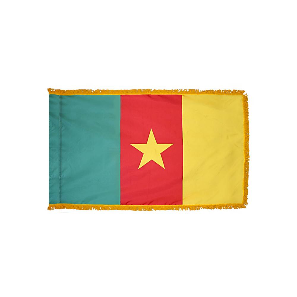 Cameroon Flag with Polesleeve & Fringe