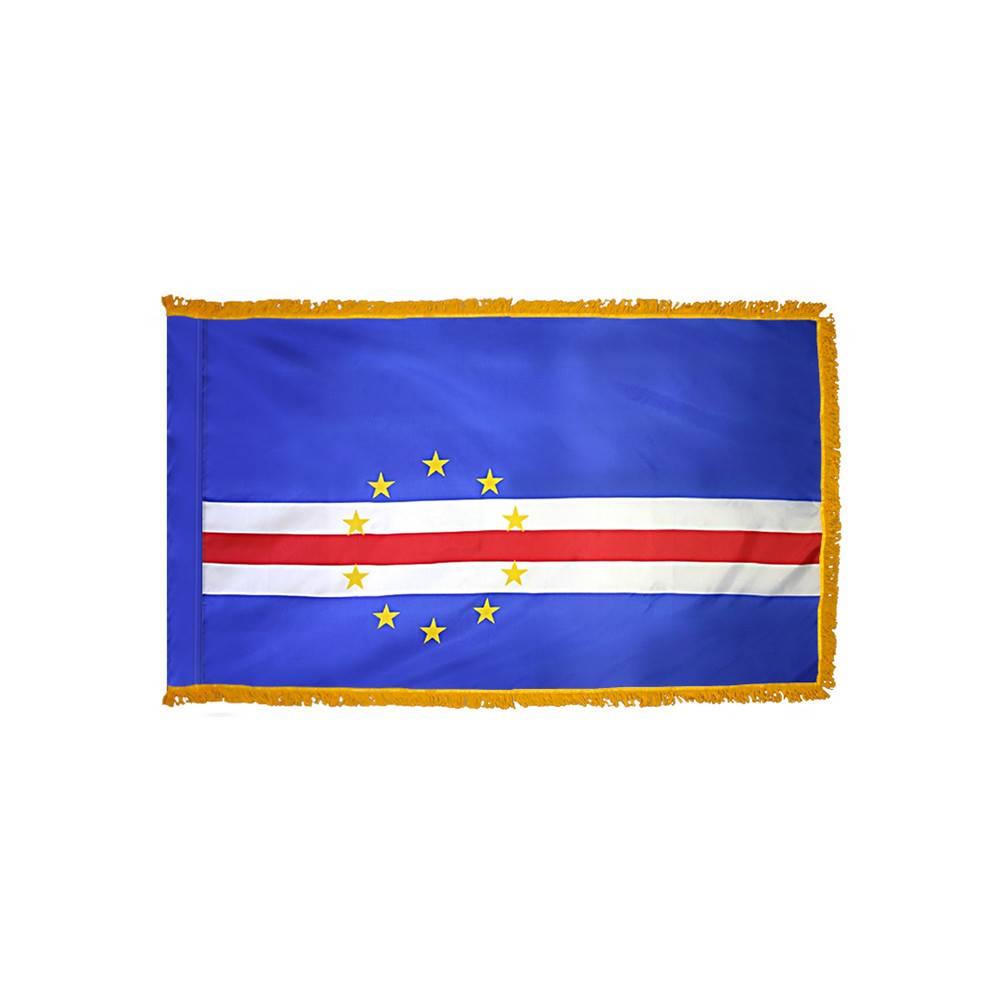 Cape Verde Flag with Polesleeve & Fringe
