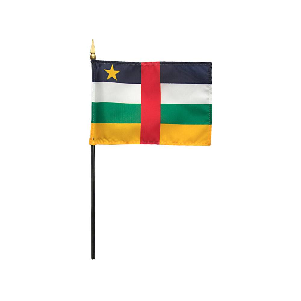 Central African Republic Stick Flag 4x6 in