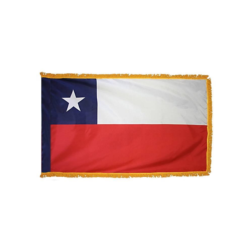 Chile Flag with Polesleeve & Fringe