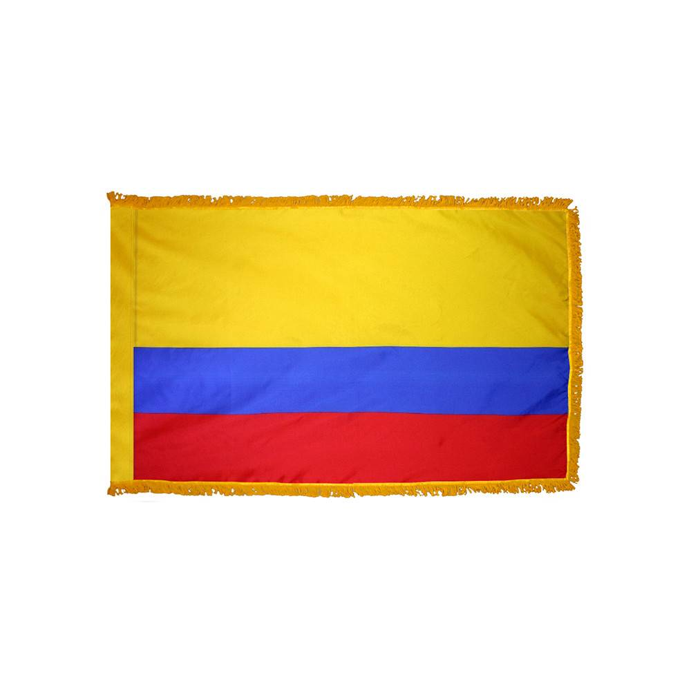 Colombia Flag with Polesleeve & Fringe