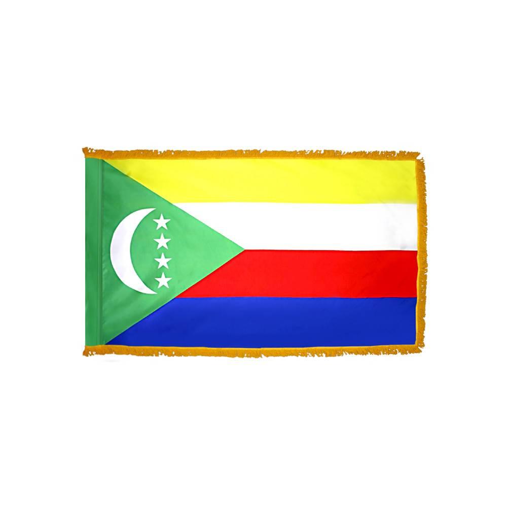Comoros Flag with Polesleeve & Fringe