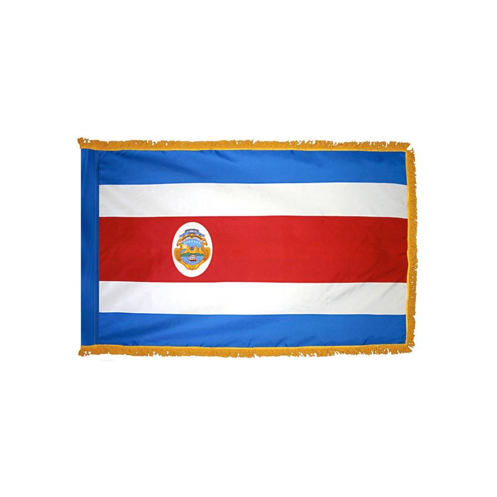 Costa Rica Flag with Polesleeve & Fringe