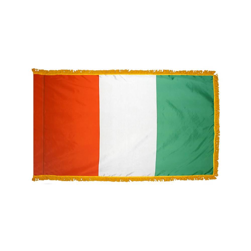 Cote D'Ivoire Flag with Polesleeve & Fringe