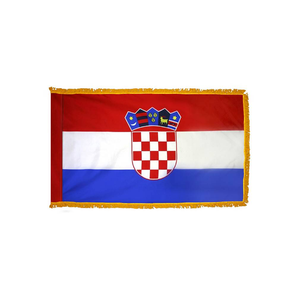 Croatia Flag with Polesleeve & Fringe