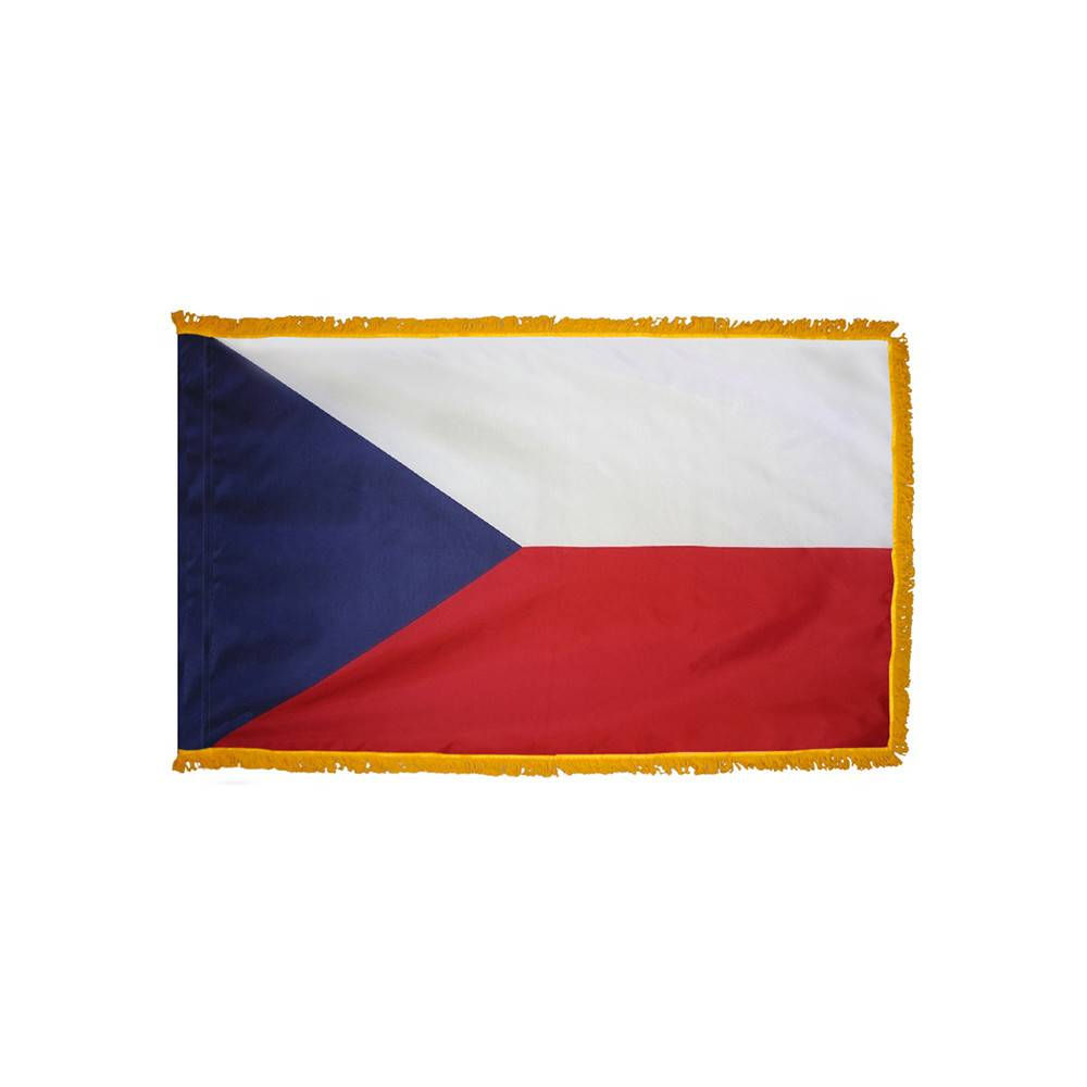 Czech Republic Flag with Polesleeve & Fringe
