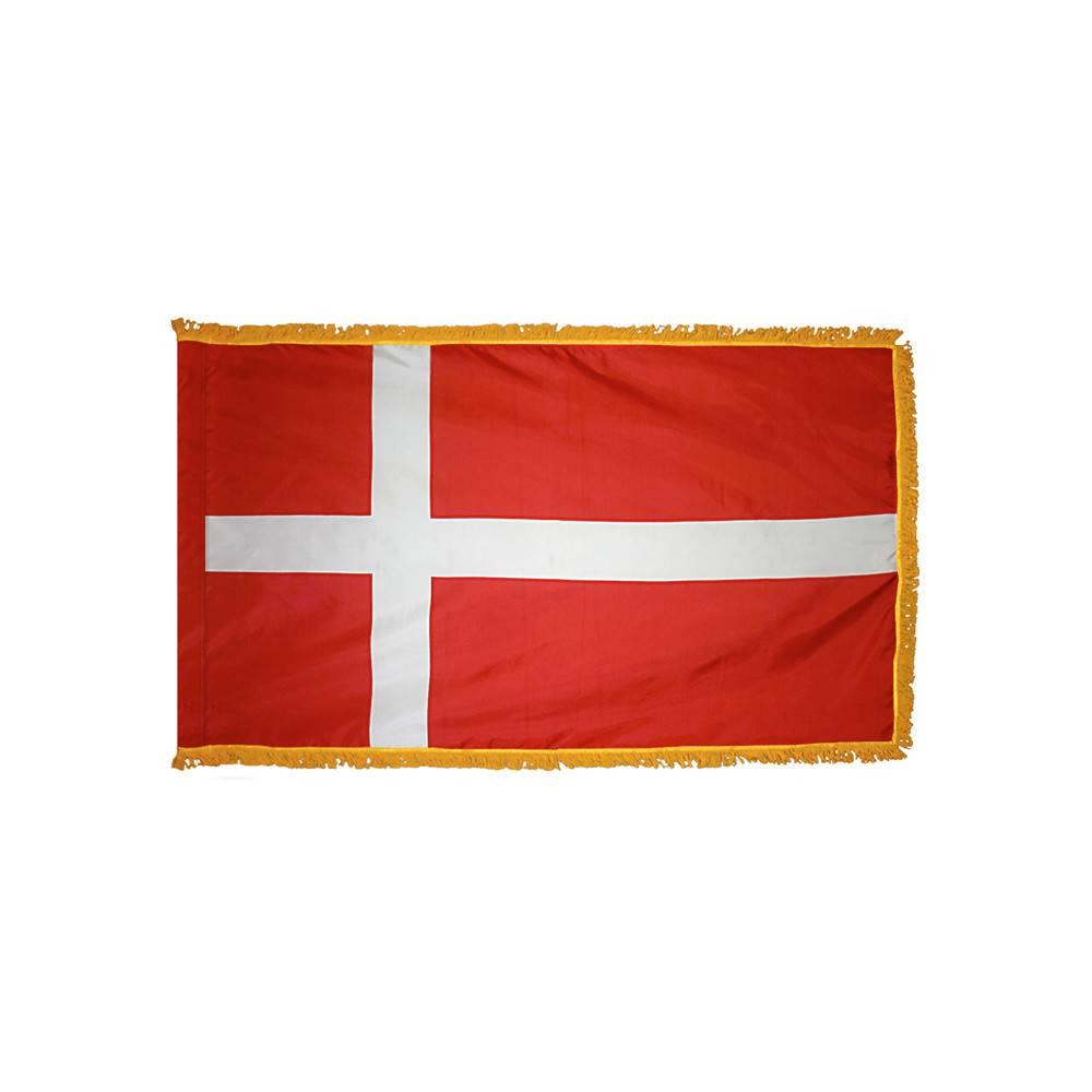Denmark Flag with Polesleeve & Fringe