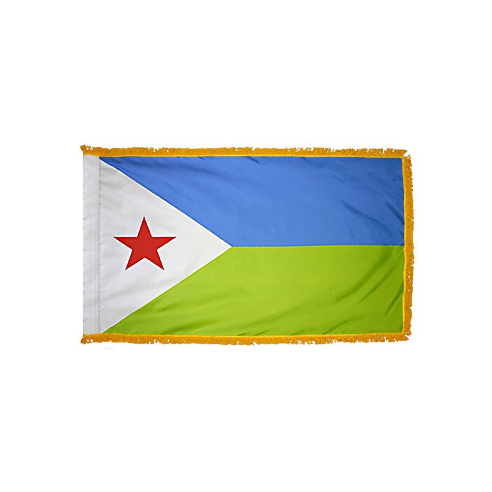 Djibouti Flag with Polesleeve & Fringe