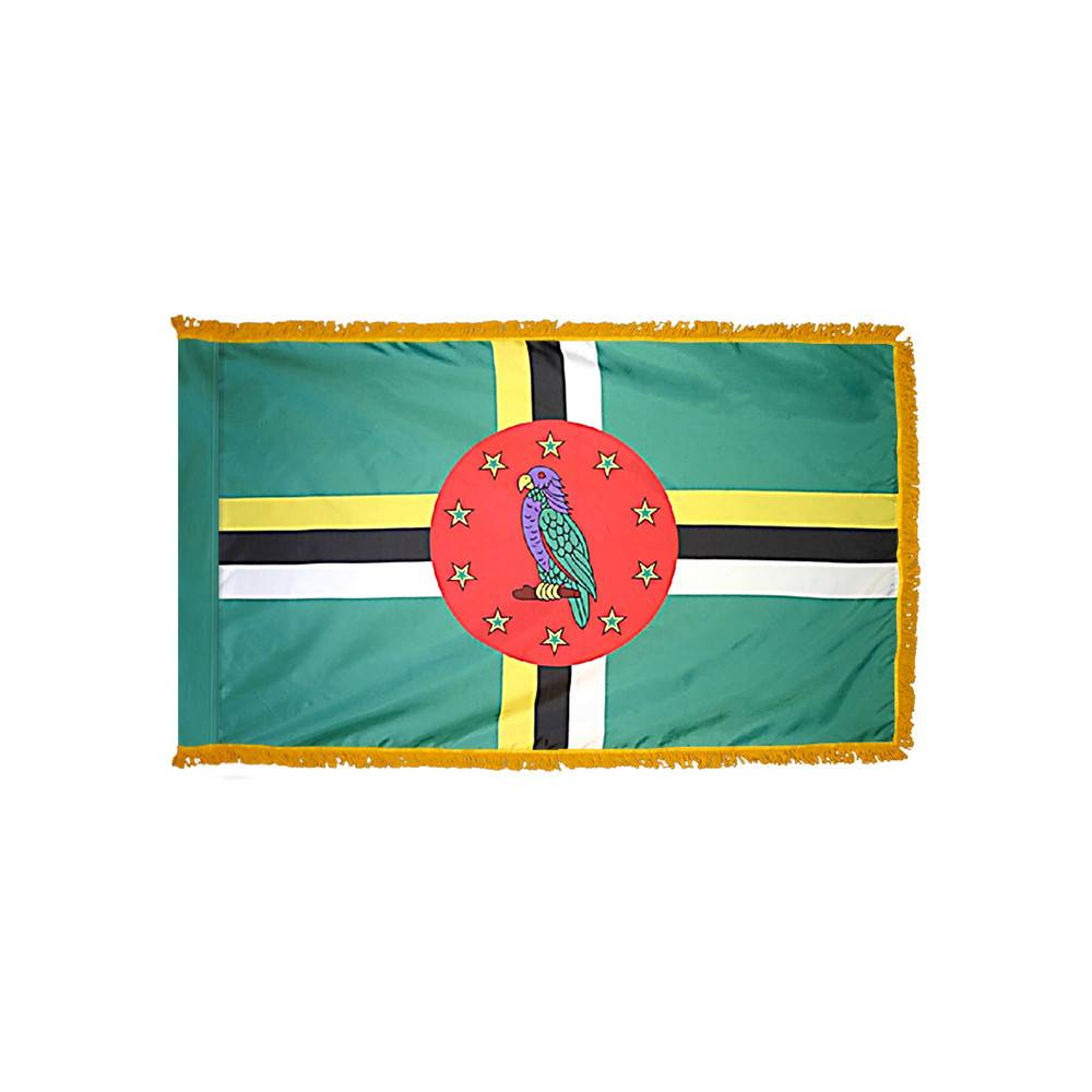Dominica Flag with Polesleeve & Fringe