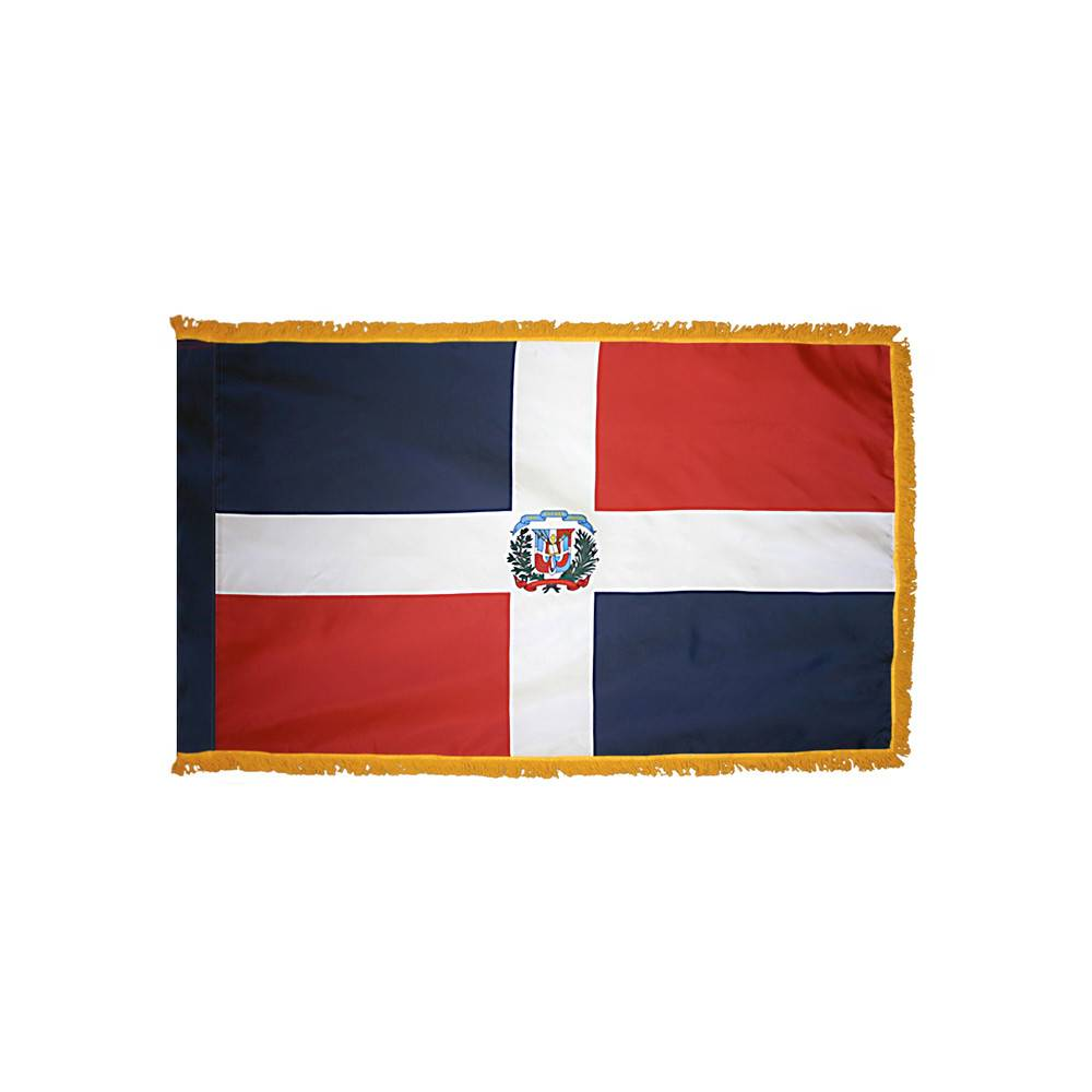 Dominican Republic Flag with Polesleeve & Fringe