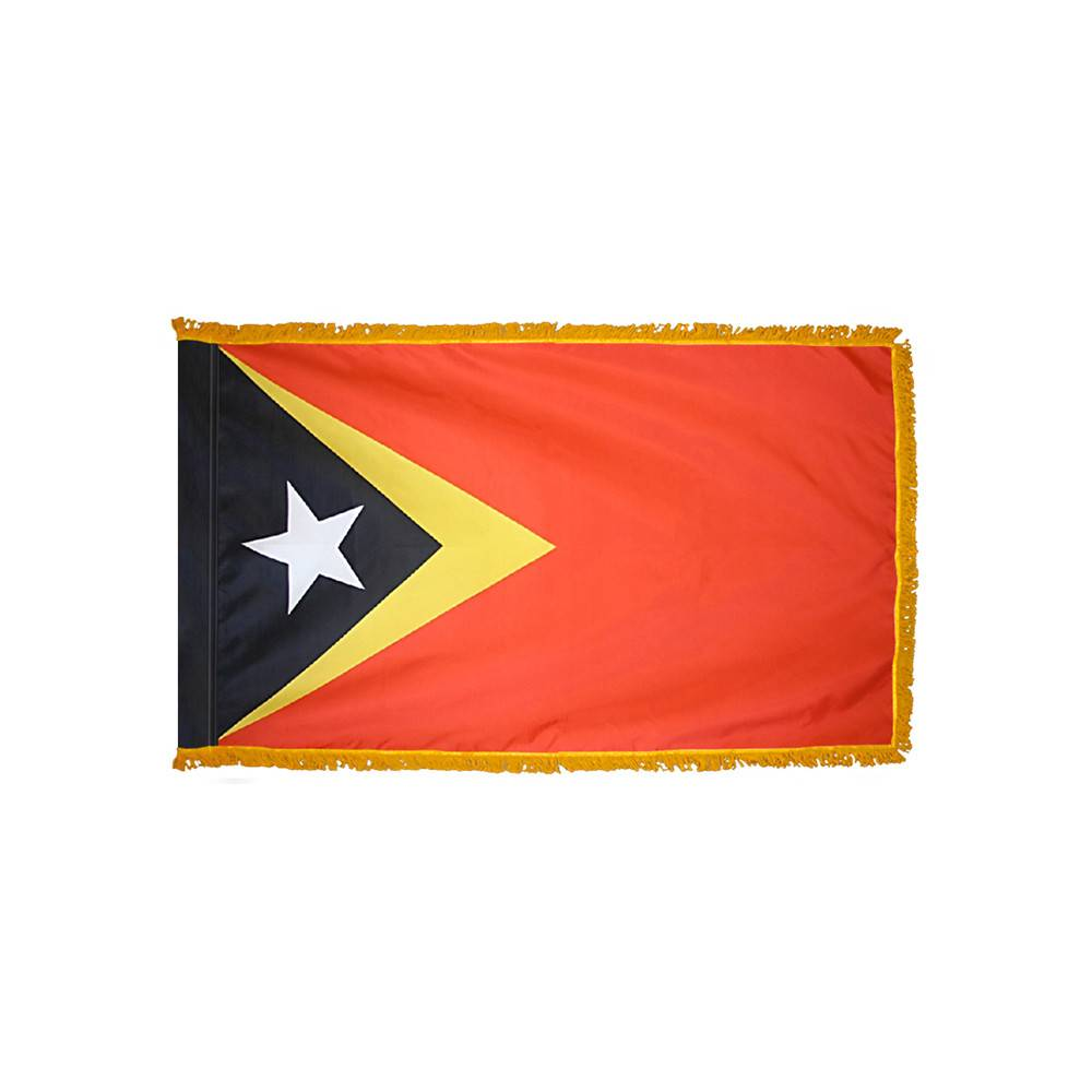 East Timor Flag with Polesleeve & Fringe