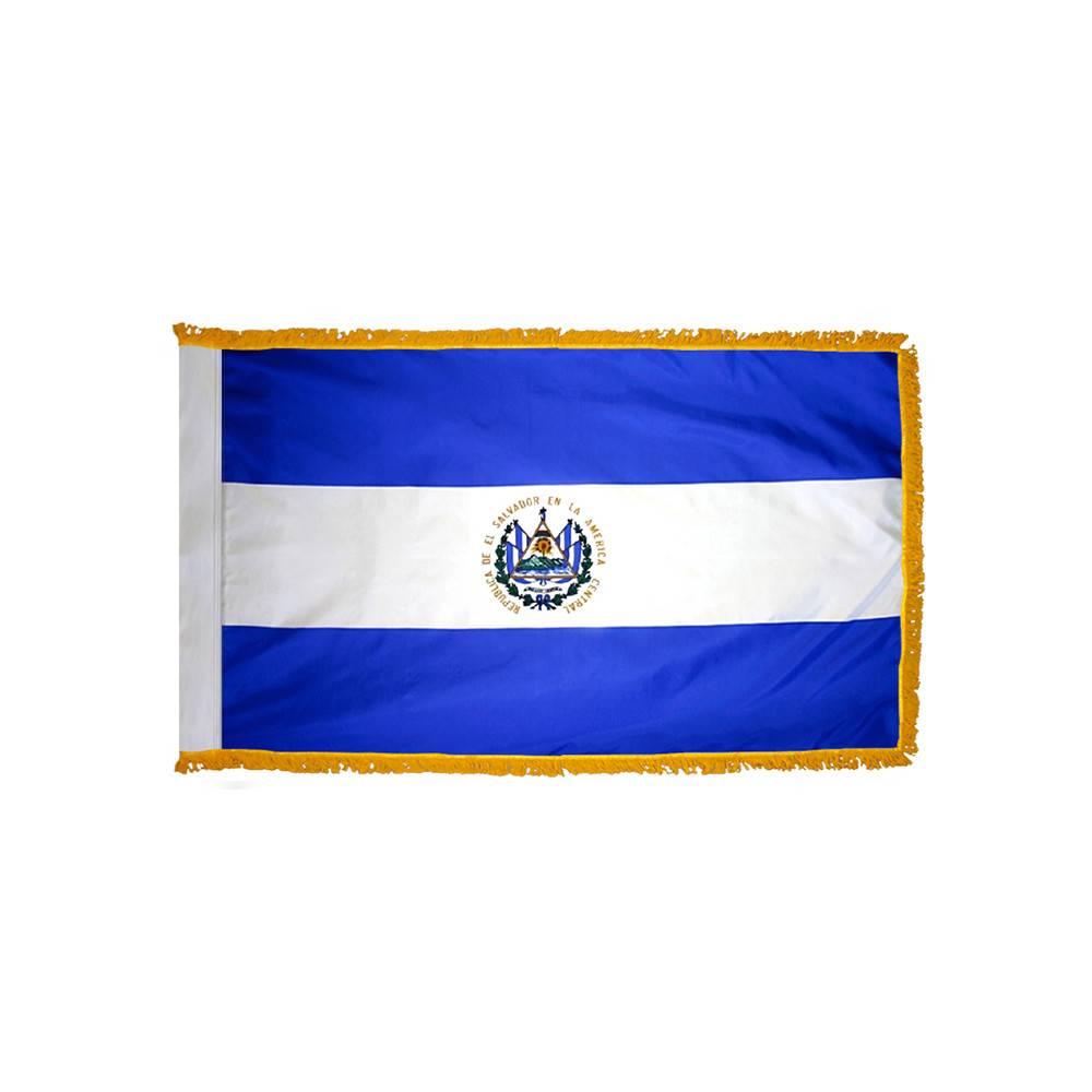 El Salvador Flag with Polesleeve & Fringe