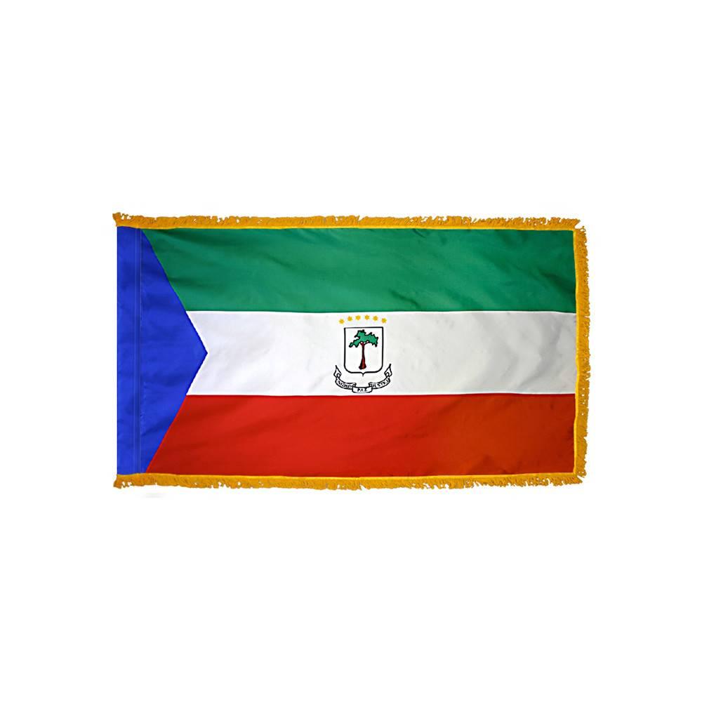 Equatorial Guinea Flag with Polesleeve & Fringe