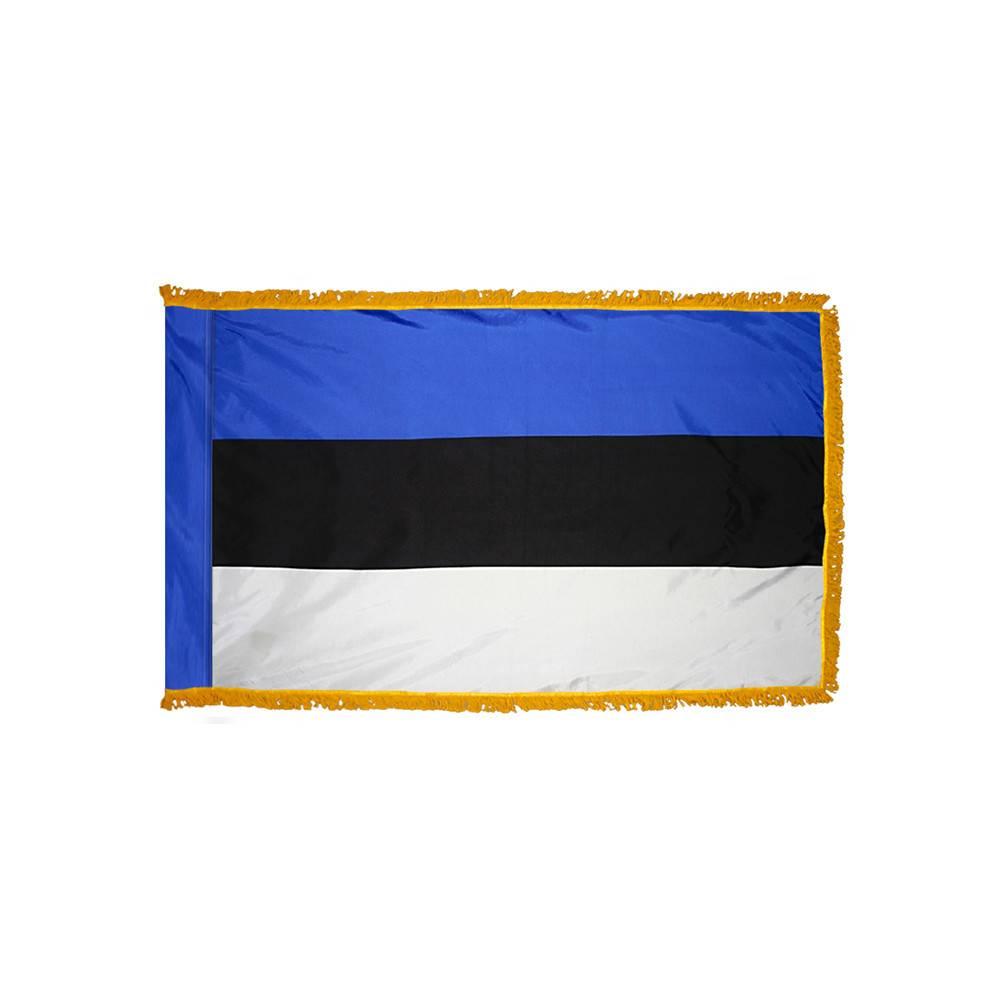 Estonia Flag with Polesleeve & Fringe