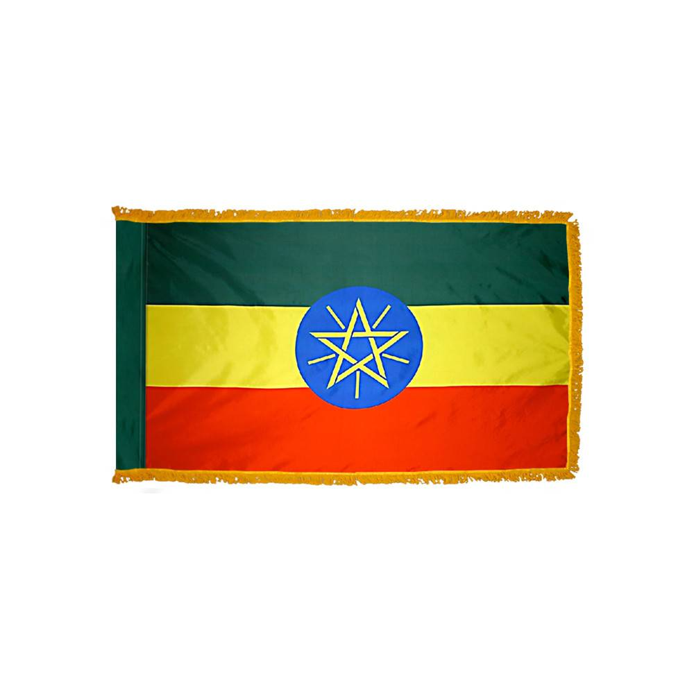 Ethiopia Flag with Polesleeve & Fringe