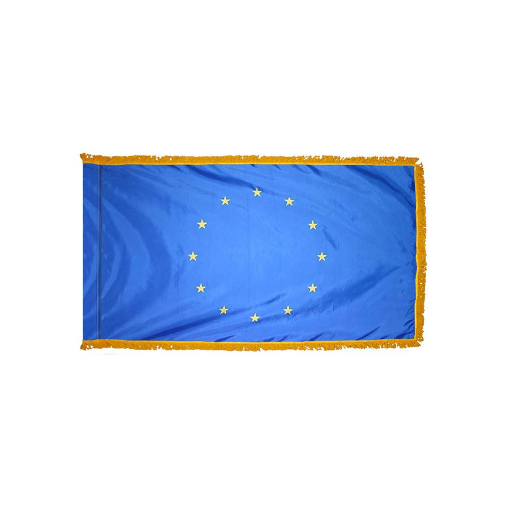 European Union Flag with Polesleeve & Fringe