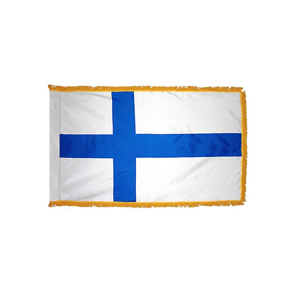 Finland Flag with Polesleeve & Fringe
