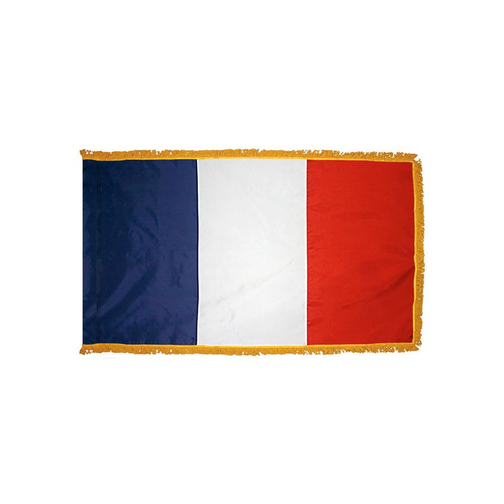 France Flag with Polesleeve & Fringe