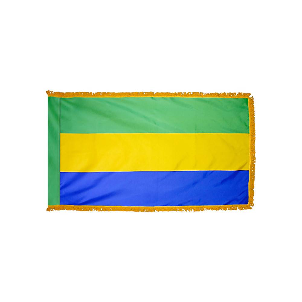 Gabon Flag with Polesleeve & Fringe