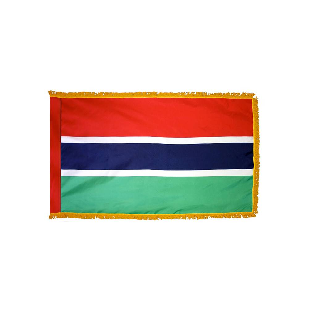 Gambia Flag with Polesleeve & Fringe