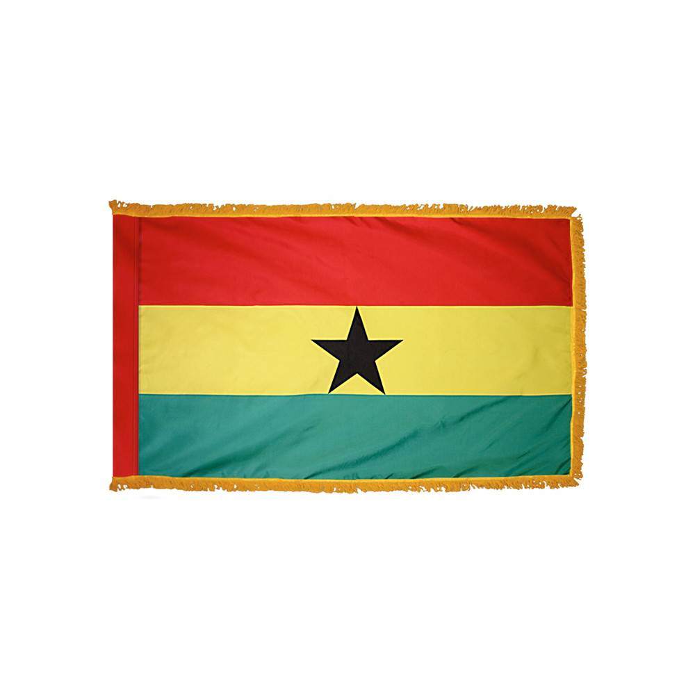 Ghana Flag with Polesleeve & Fringe